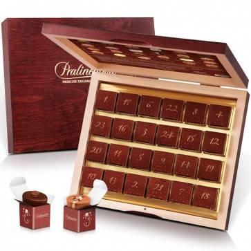 Adventskalender mit 24 Pralinen in edler Holzschatulle