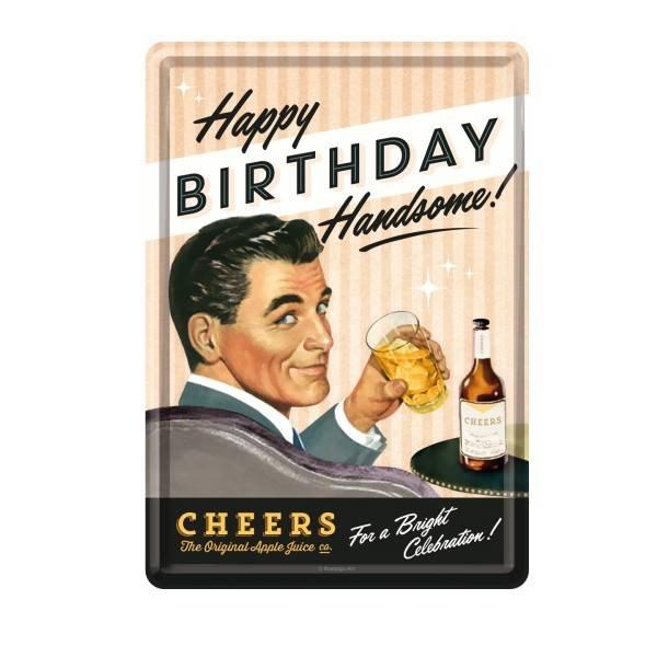 Blech-Postkarte Happy Birthday (mit Mann)