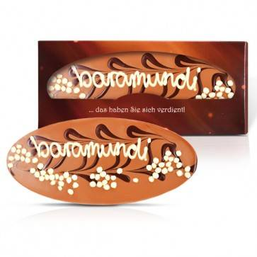 Individuell beschriftete Schokoladentafel in individueller Schachtel