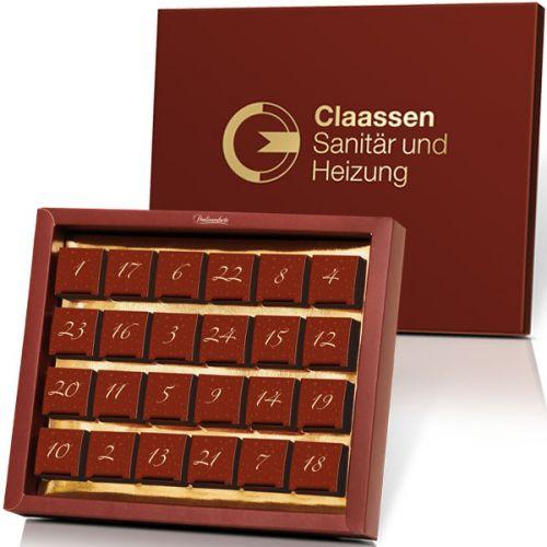 Adventskalender mit 24 Pralinen und individuellem Silber- oder Golddruck