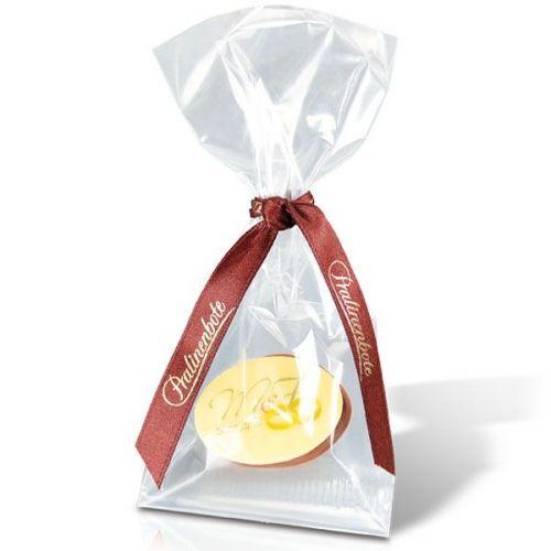 Logo-Praline im Cellophan-Tütchen: Alkoholfreier Sahnetrüffel