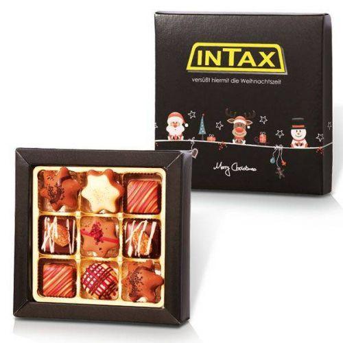 Weihnachtskollektion mit 9 Pralinen in individueller Schachtel