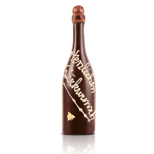 """Schoko-Sektflasche """"Herzlichen Glückwunsch"""", 31 cm"""