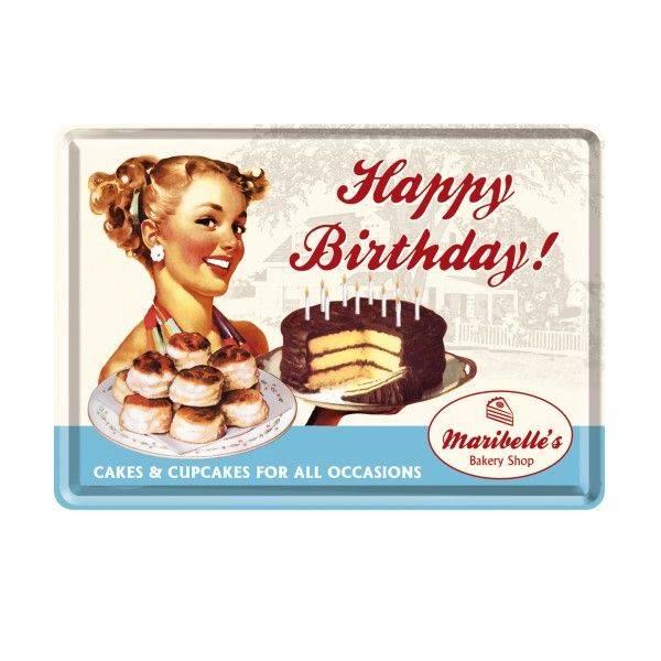 """Blech-Postkarte """"Happy Birthday""""(mit Frau)"""